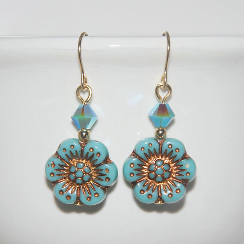 Czech Glass Light Turquoise Opaque Wildflower with Swarovski Earrings