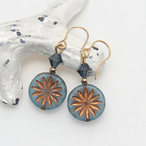 Czech Glass Montana Blue and Bronze Etched Flower Earrings