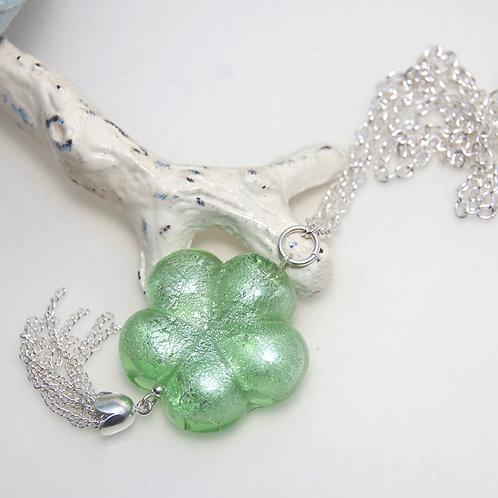 Shiny Green Flower Silver Tassel Necklace