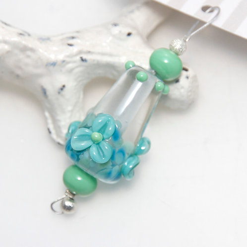 Turquoise and Green Frit and Floral Lampwork Glass Bead Focal with Spacers