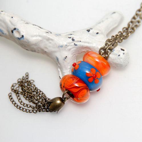 Big Hole Bead Red Orange Blue Tassel Necklace