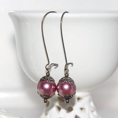 Antique Pink Pearl Earrings