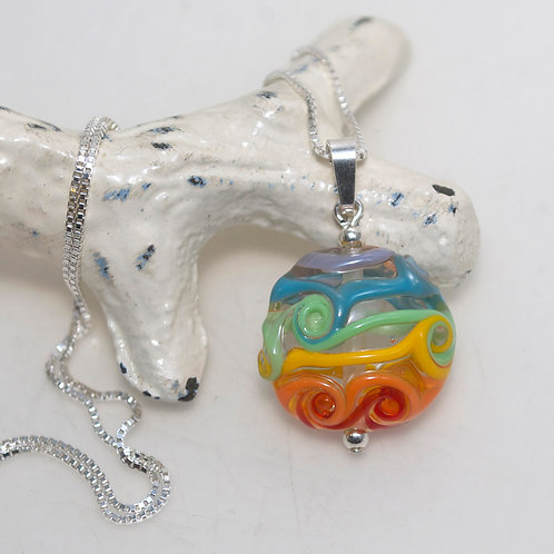 Rainbow Swirly Glass Pendant Sterling Silver Necklace