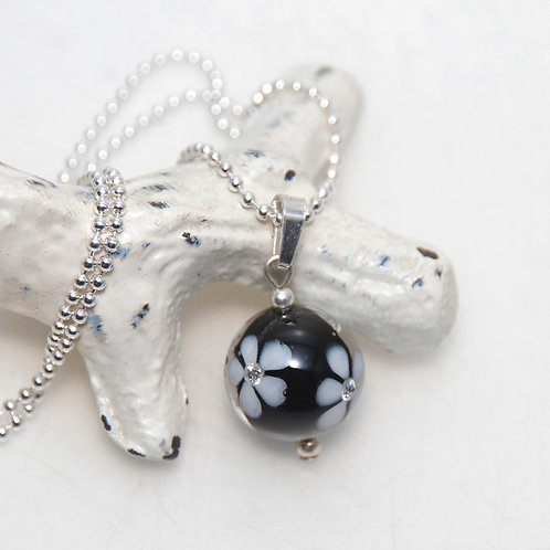 Black with White Cubic Zirconia Flowers Glass Sterling Silver Necklace