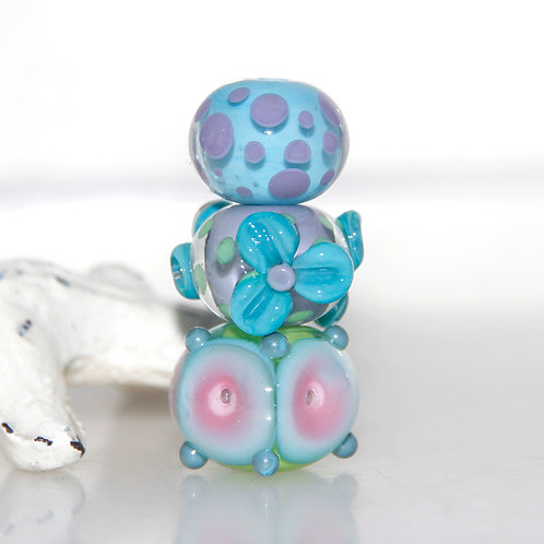 Orphan Set of 3 Handmade Lampwork Glass Beads
