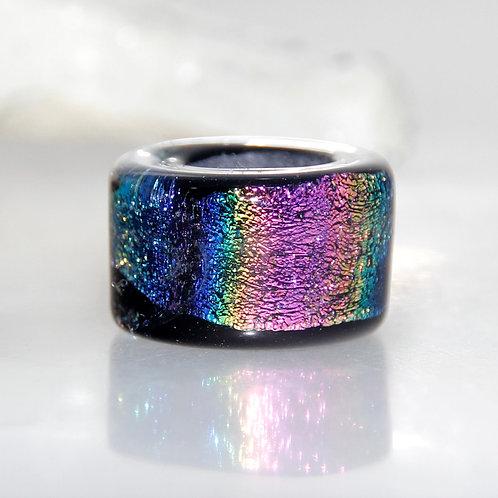 Dichroic Rainbow Sparkly Glass Dreadlock Bead 8.5mm Hole