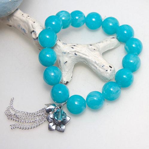 Aqua Blue Flower Tassel Bracelet