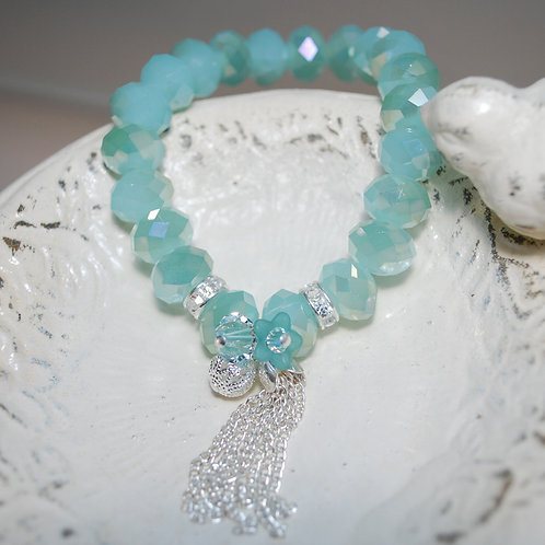 Pastel Blue Tassel Elastic Bracelet