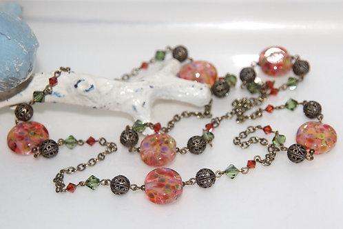 Antique Autumn Speckle Glass Bead Necklace