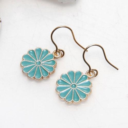 Little Turquoise Enamel Daisy Earrings