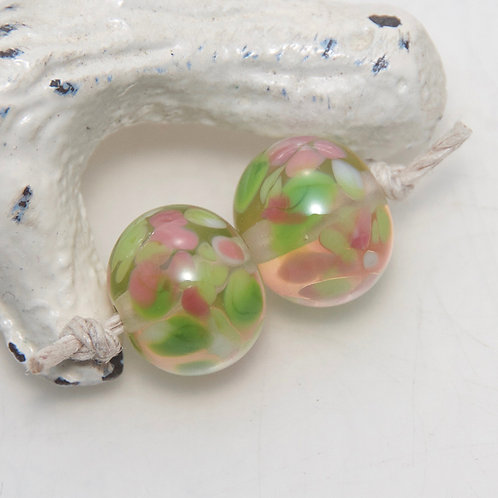 Floriade Speckled Lampwork Glass Bead Pair