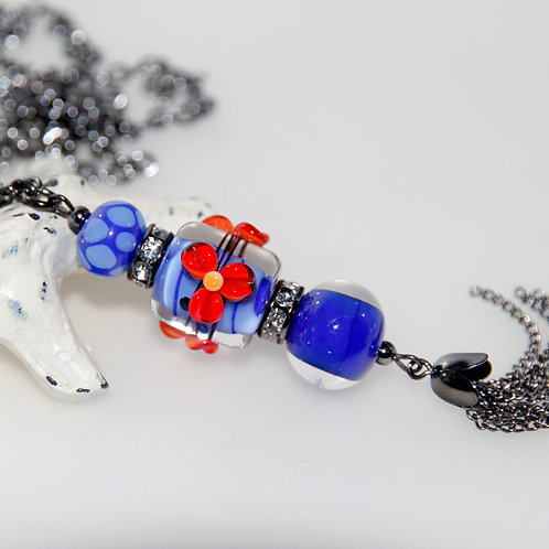Cobalt Blue and Red Lampwork Glass Tassel Necklace