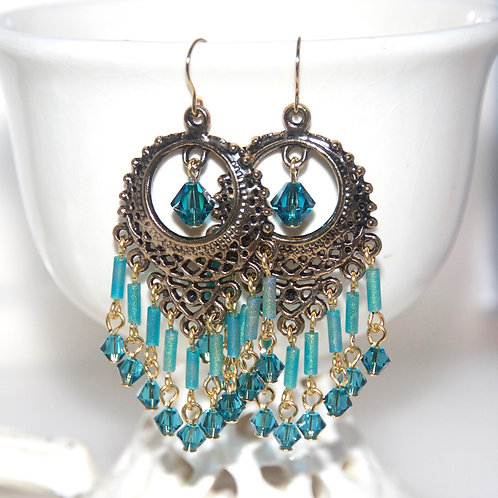 Gold Turquoise Dangly Earrings