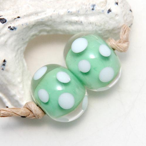 Green and White Polkadot Lampwork Glass Bead Pair