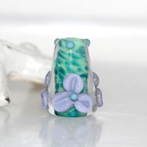 Jungle Green Cone Lampwork Glass Bead