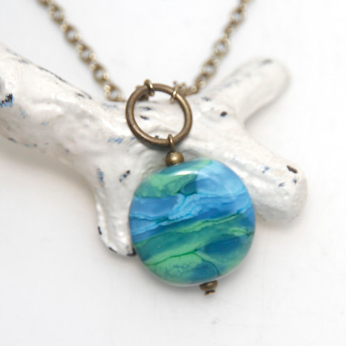 Green and Blue Lampwork Antique Brass Necklace