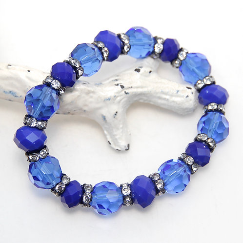 Bright Cobalt Electric Blue with Sparkles Elastic Bracelet