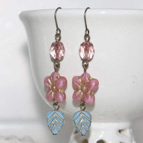 Pink and Blue Flower Drop Earrings