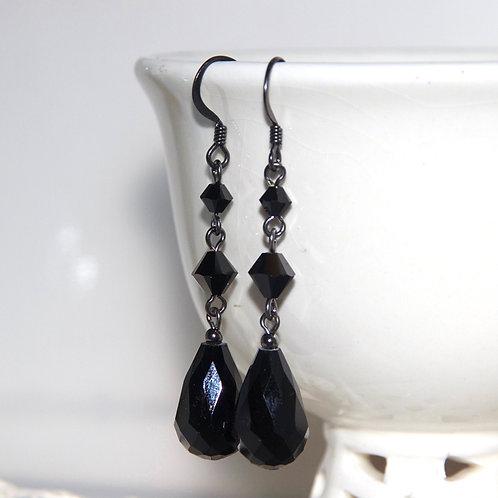 Black Mid Drop Crystal Earrings