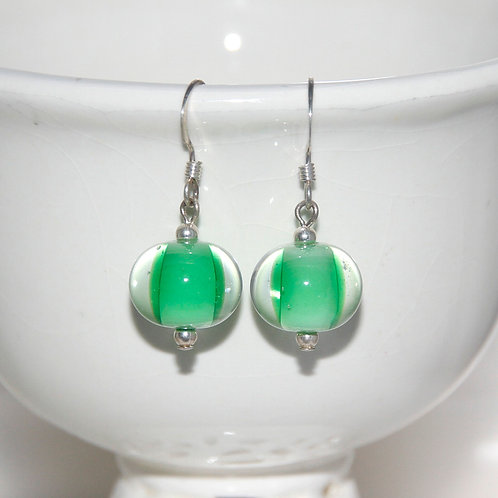 Bright Layered Green Lampwork Glass Silver Earrings