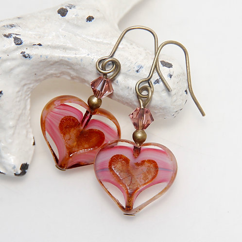 Czech Glass Window Heart Antique Brass Earrings