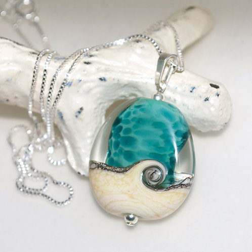 Ocean Beach Wave Sterling Silver Necklace