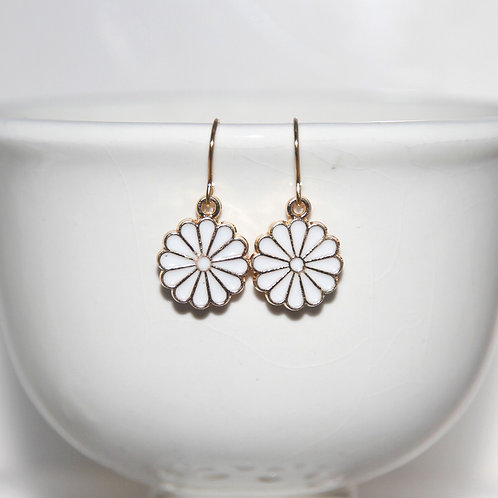 Little White Enamel Daisy Earrings