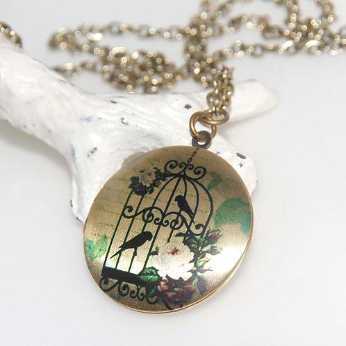 Birdcage Locket on Antique Brass Chain Necklace