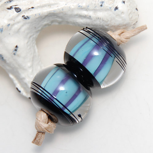Blue and Purple Striped Black Capped Lampwork Glass Bead Pair