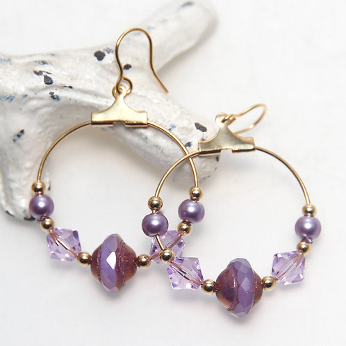 Violet Purple Swarovski Crystal and Czech Glass Gold Hoop Earrings
