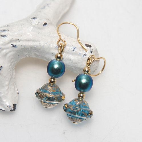Teal Pearl and Czech Glass Blue and Gold Earrings