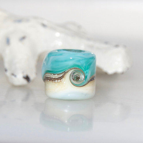 Milky Teal Beach Swirl Dreadlock Bead