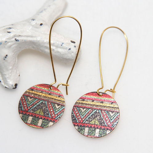 Aztec Shiny Colourful Disc Earrings