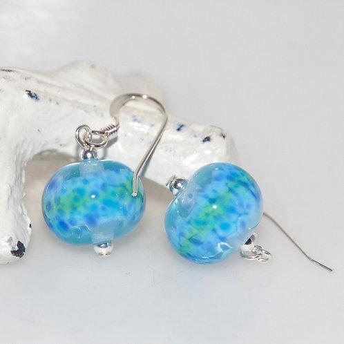 Pond Blue Speckle Glass Earrings