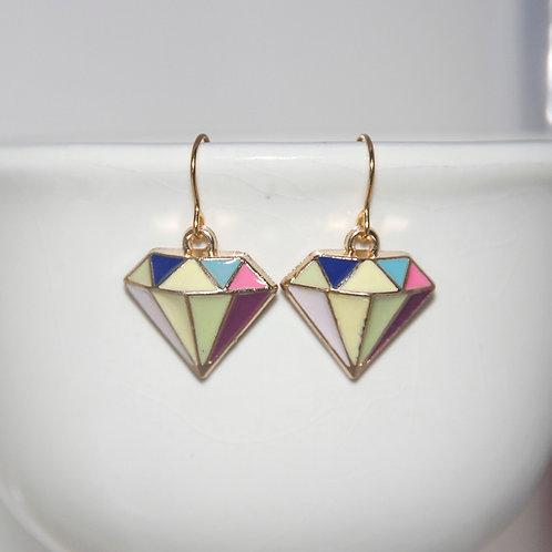 Enamel Diamond Shape Earrings