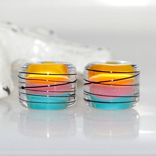 Hawaiian Sunset Striped Lampwork Glass Bead Pair