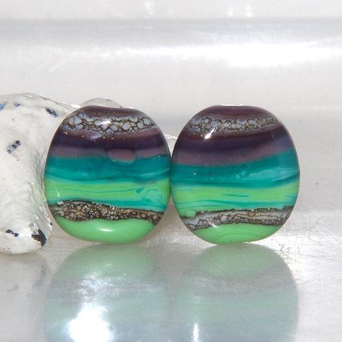 Purple to Lime Striped Organic Glass Bead Pair