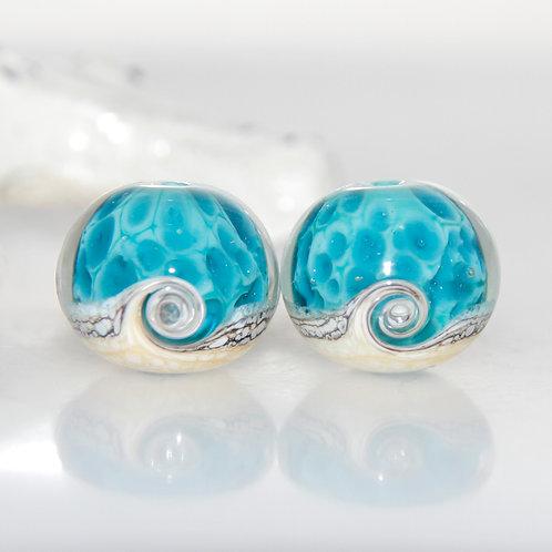 Water Blue Beach Wave Lampwork Glass Bead Pair