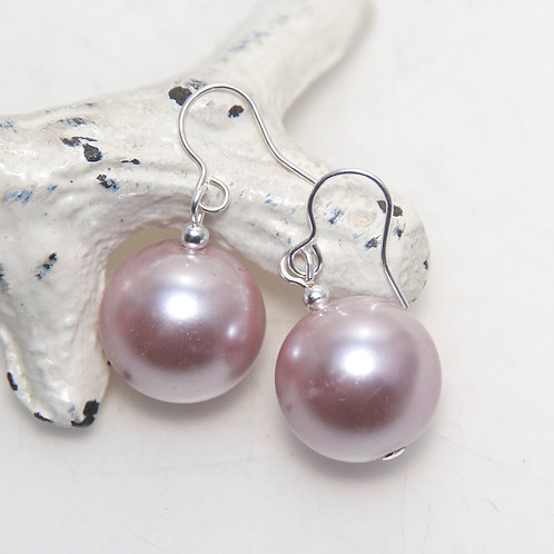 Big Pale Pink Pearl Earrings