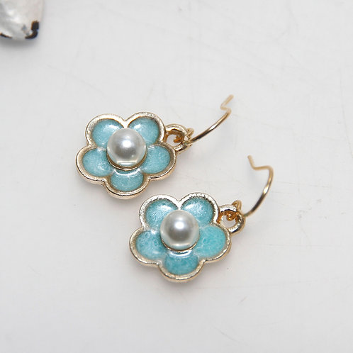 Little Blue Pearl Enamel Flower Earrings
