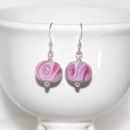 Two Tone Pink Swirly Glass Earrings
