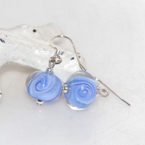 Periwinkle Swirly Lampwork Glass Earrings