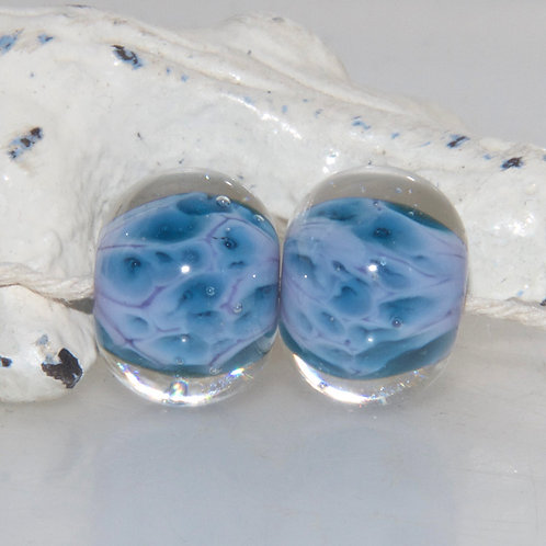 Mottled Mauve Lampwork Glass Bead Pair