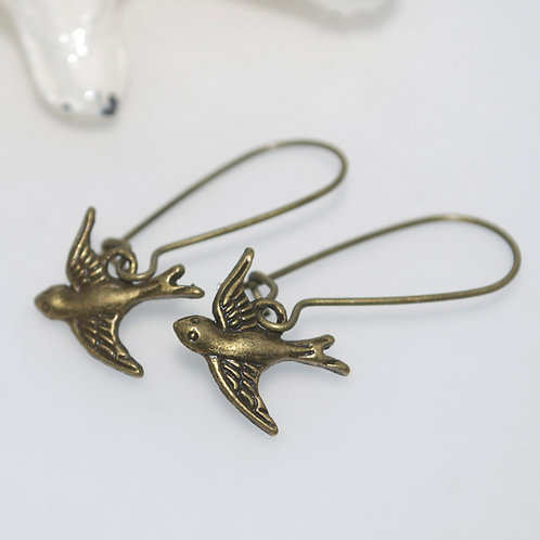 Flying Sparrow Earrings Antique Bronze