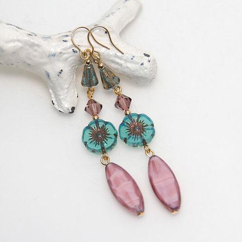 Silk Pink and Teal Czech Glass Long Drop Flower Earrings