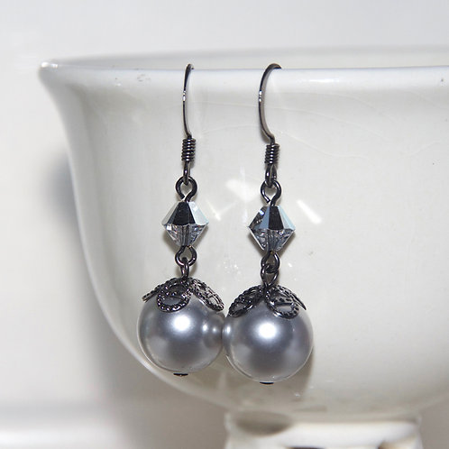Silver Swarovski Crystal and Pearl Earrings