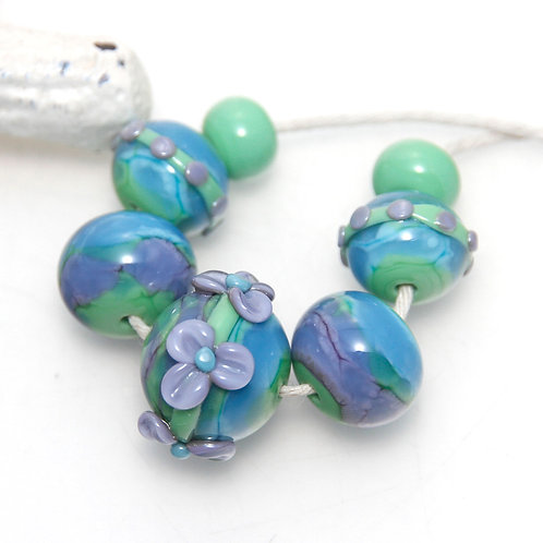 Angelite Green Purple Aqua Floral Lampwork Glass Bead Set