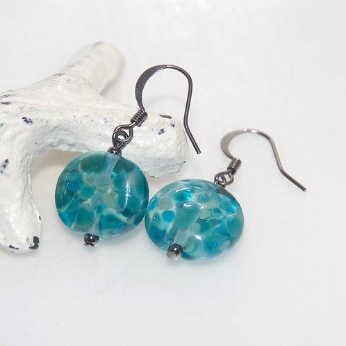 Ocean Teal Speckle Glass Earrings