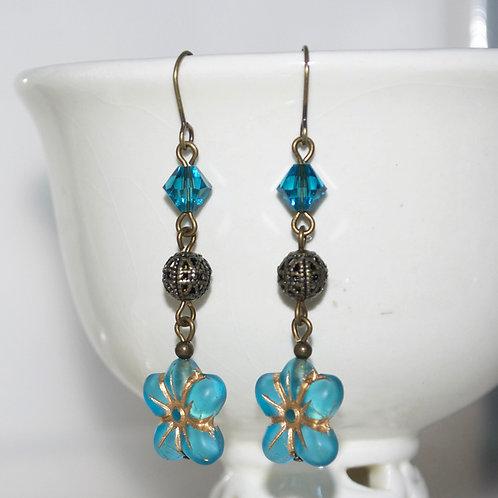 Long Blue Golden Flower Earrings