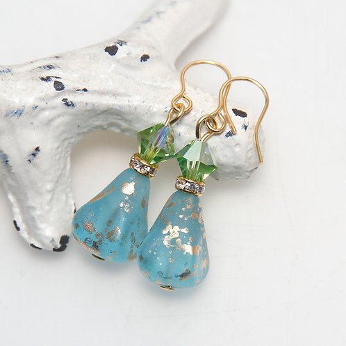 Czech Glass Aqua Golden Splash with Green Swarovski Earrings